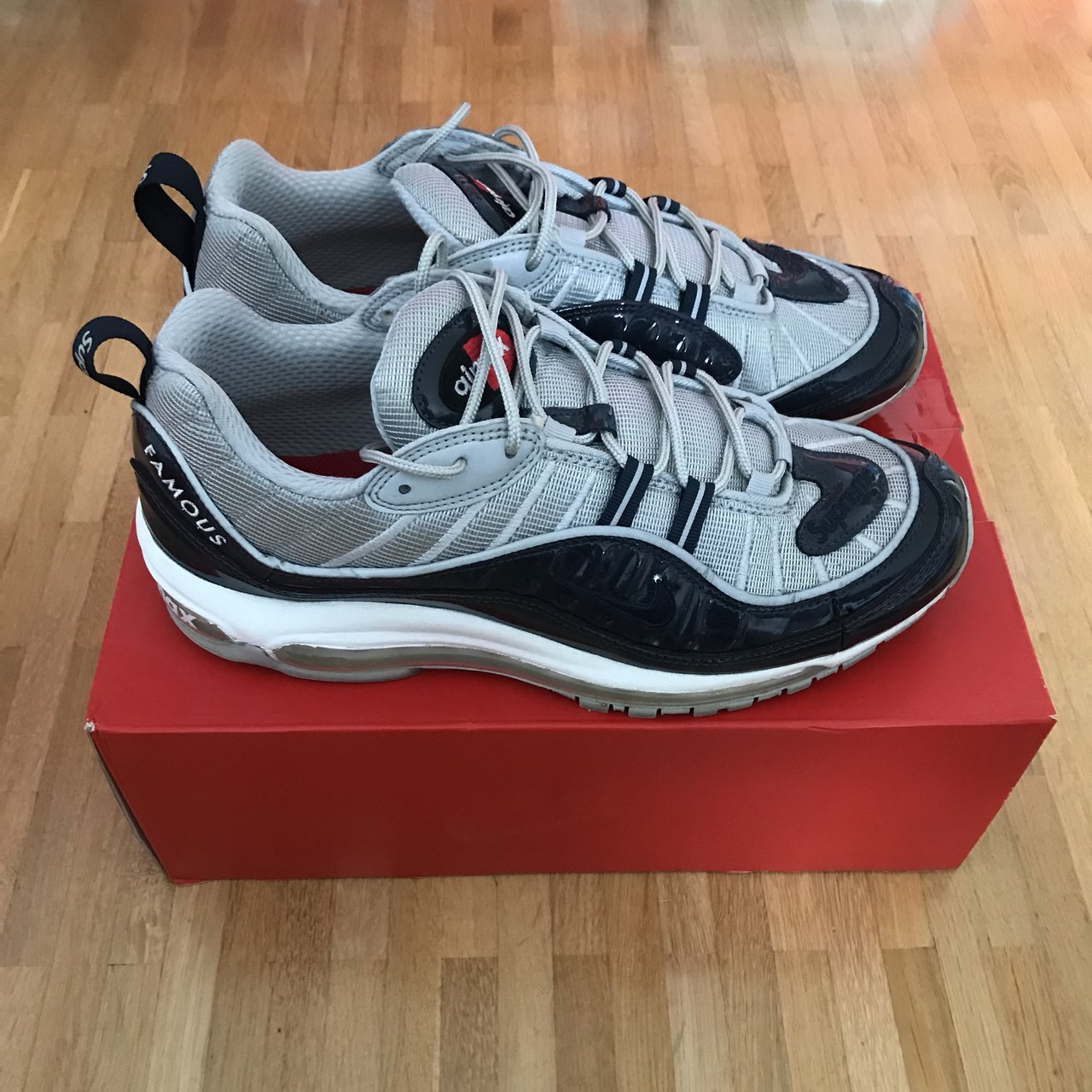 787e79b702aeb7 Nike Air Max 98 Supreme Colorway  navy grey Condition  used - Depop