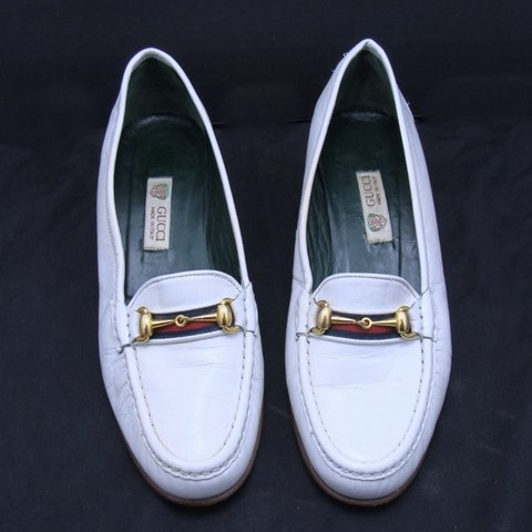 1f641110d Classic Authentic vintage Gucci loafers. White leather. with - Depop