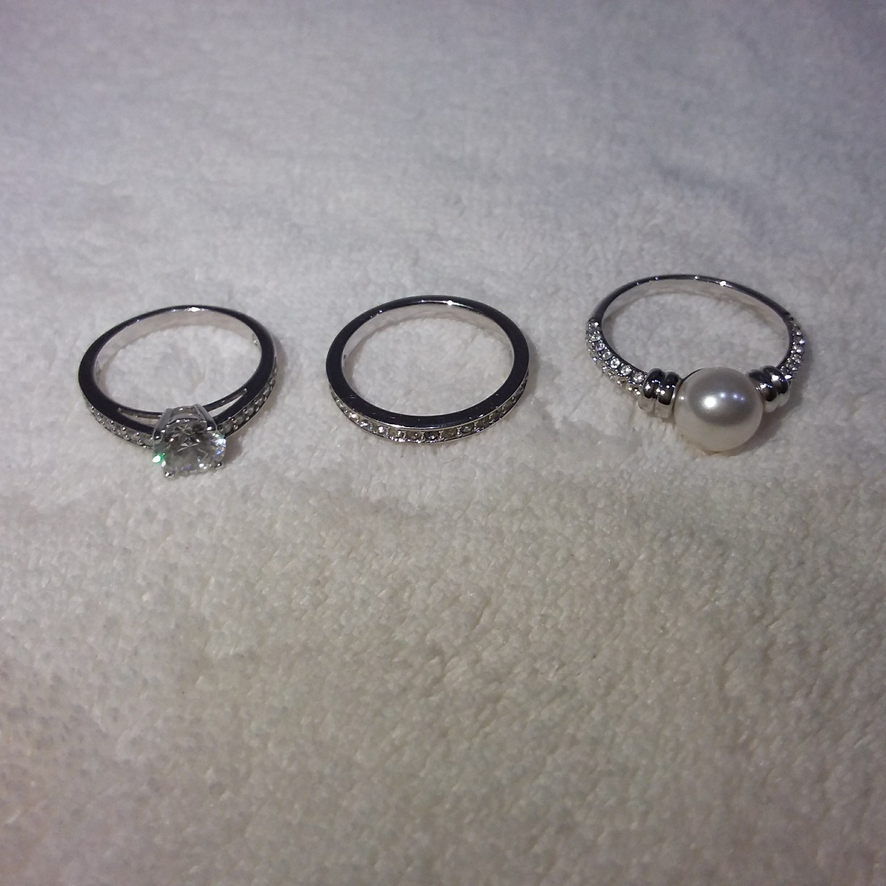- Silver swarovski rings purchased directly from    - Depop