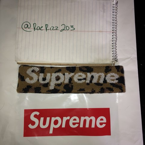 9ea56ab48e7 Supreme x New Era Leopard Headband FW18 Worn 1x Comes with - Depop