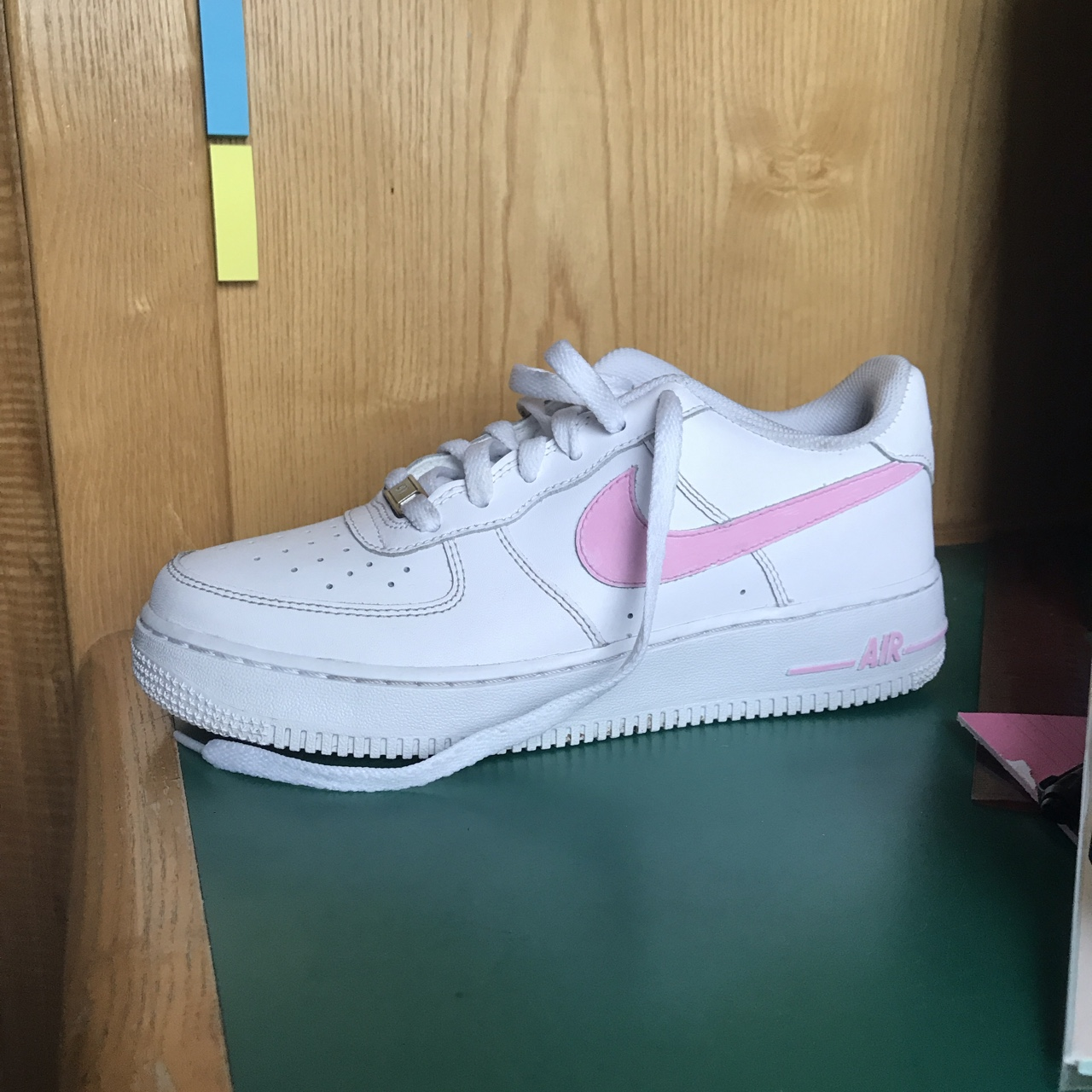 White Nike Air Force with baby pink