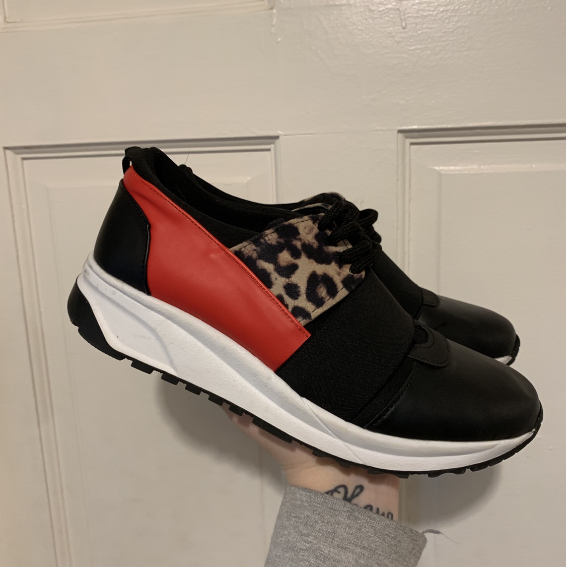New look Leopard print detail trainers