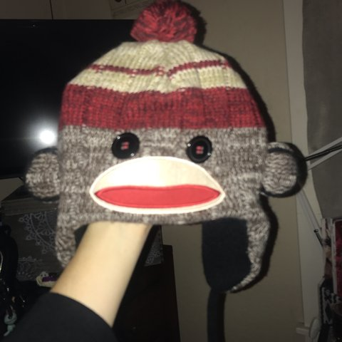 472c64efa6924 This is a monkey hat beanie. Beyond adorable. Stretchy will - Depop
