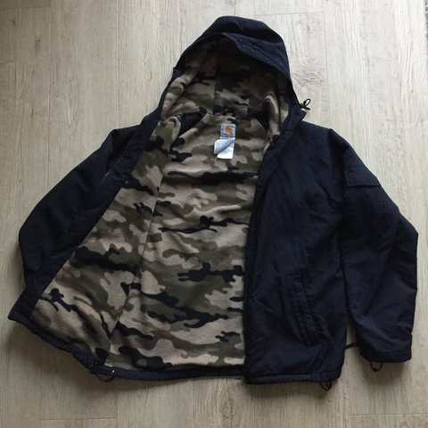 2415d8f4f1979 @thatsnotvintage. 7 months ago. Plymouth, United Kingdom. Carhartt camo  fleece lined coat/jacket. Size Medium but could also ...