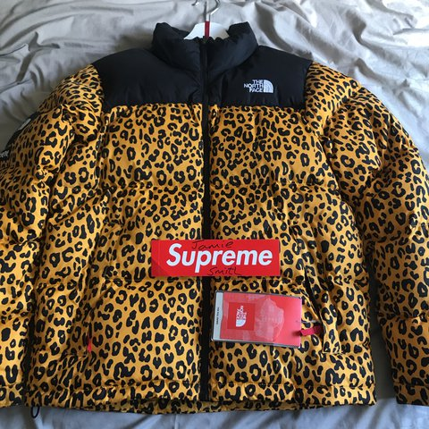 026a0f572e Supreme Yellow Leopard Nuptse 700 from 2011 Supreme x TNF - - Depop