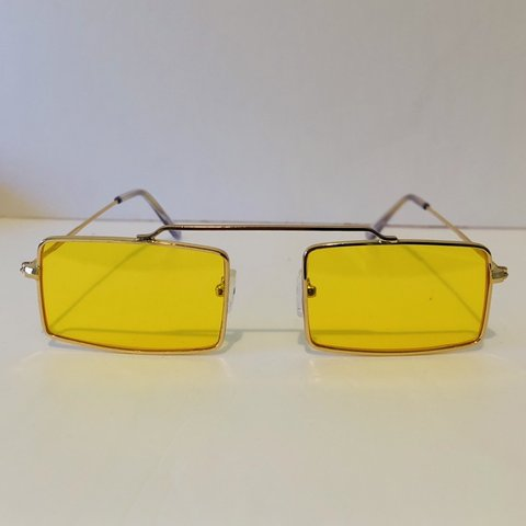 58c35f4ce3c Gold metal frame And brow line - yellow lens- retro Shipping - Depop