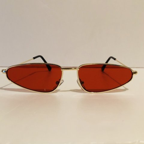ad984aabb3  retrovision1961. in 17 hours. United States. Small red lens cat eye  vintage sunglasses. Gold metal frame.