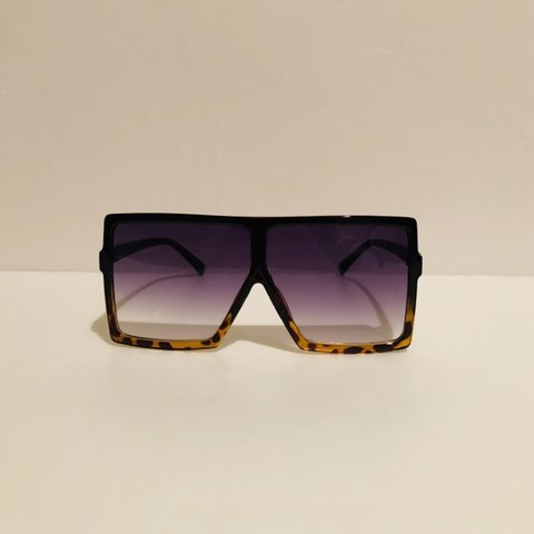 40136c72b @retrovision1961. in 19 hours. United States. Oversized square frame  sunglasses. Black and cheetah frame and faded purple lens. Vintage  sunglasses.