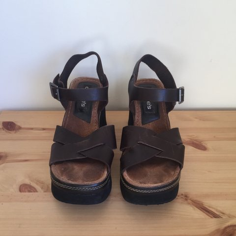 9b36c79b32c The cutest wedge slingback sandals from the 90 s Brown and a - Depop