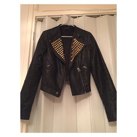b1a64cbc3b9 Topshop leather jacket with gold detail Still available 6 - Depop