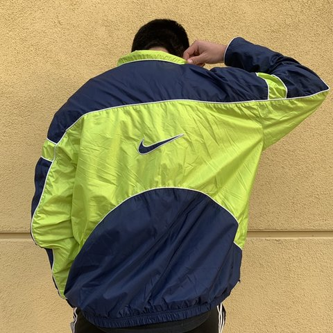 6045036543b6 Vintage Neon Nike Jacket Windbreaker!!! navy blue with neon - Depop