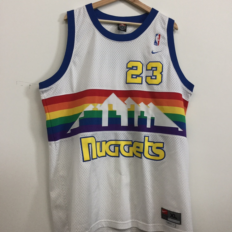 best sneakers 8591b 62928 DENVER NUGGETS MARCUS CAMBY NBA JERSEY rainbow...