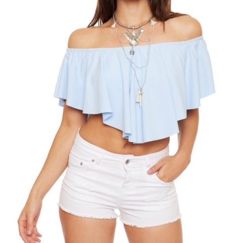 67f8f3d6d6522 Frill off the shoulder   bardot crop top in light blue. fit - Depop