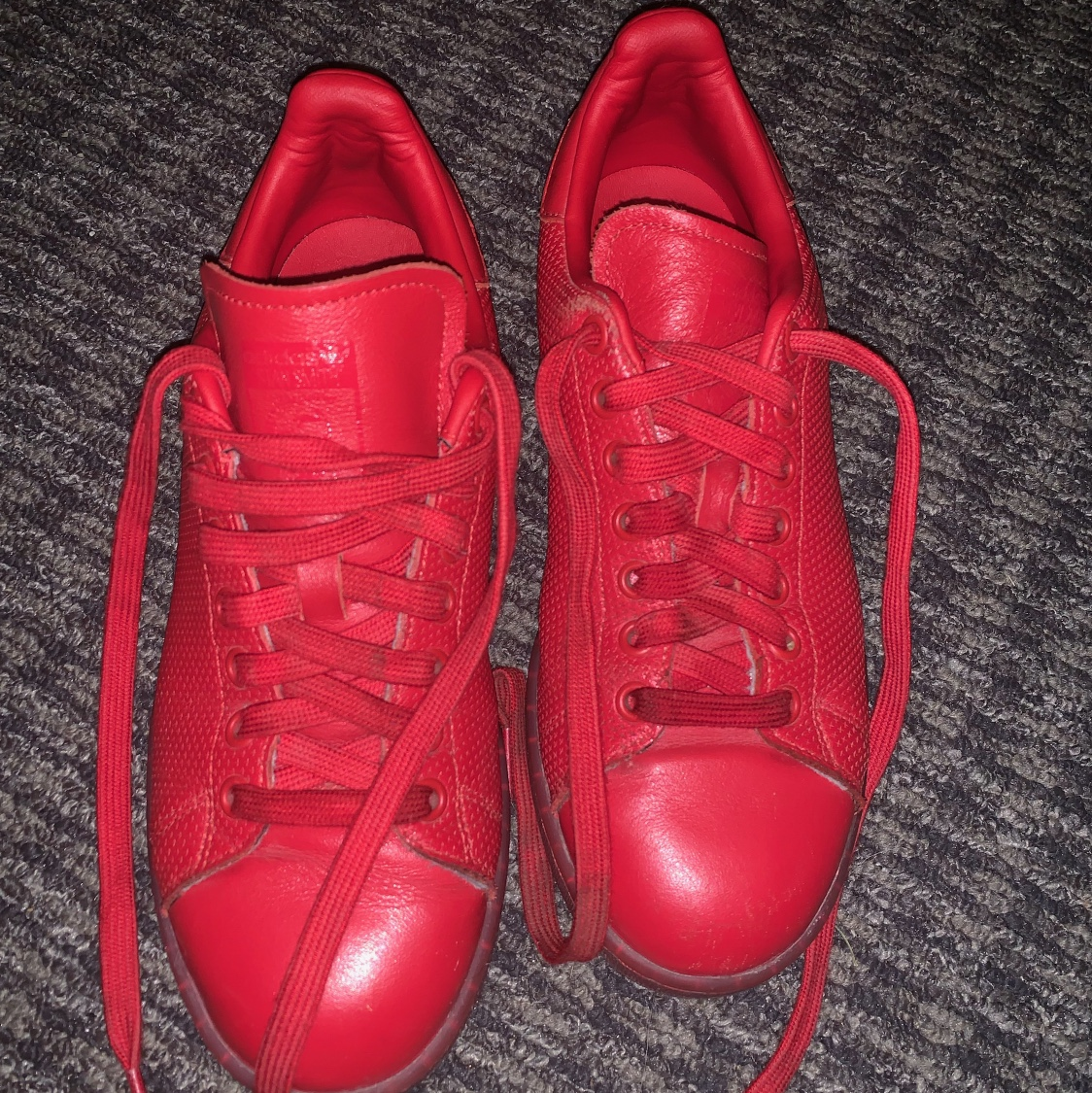 All red shell toe Adidas Men's 6.5