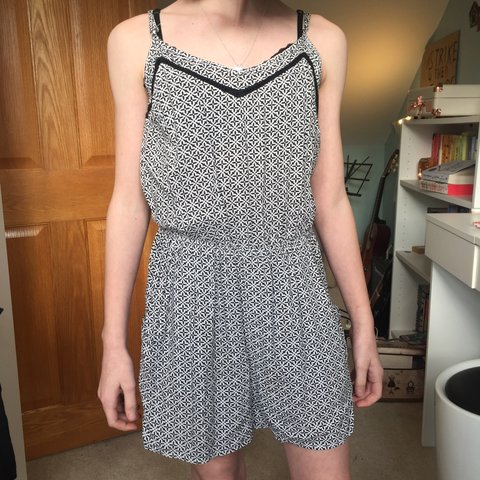 59e7b42420 black and white patterned jumpsuit  springsale - lable had a - Depop