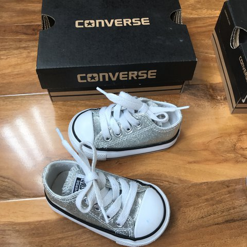 351fb4a712b X2 pairs of baby converse... silver glitter and white ... in - Depop