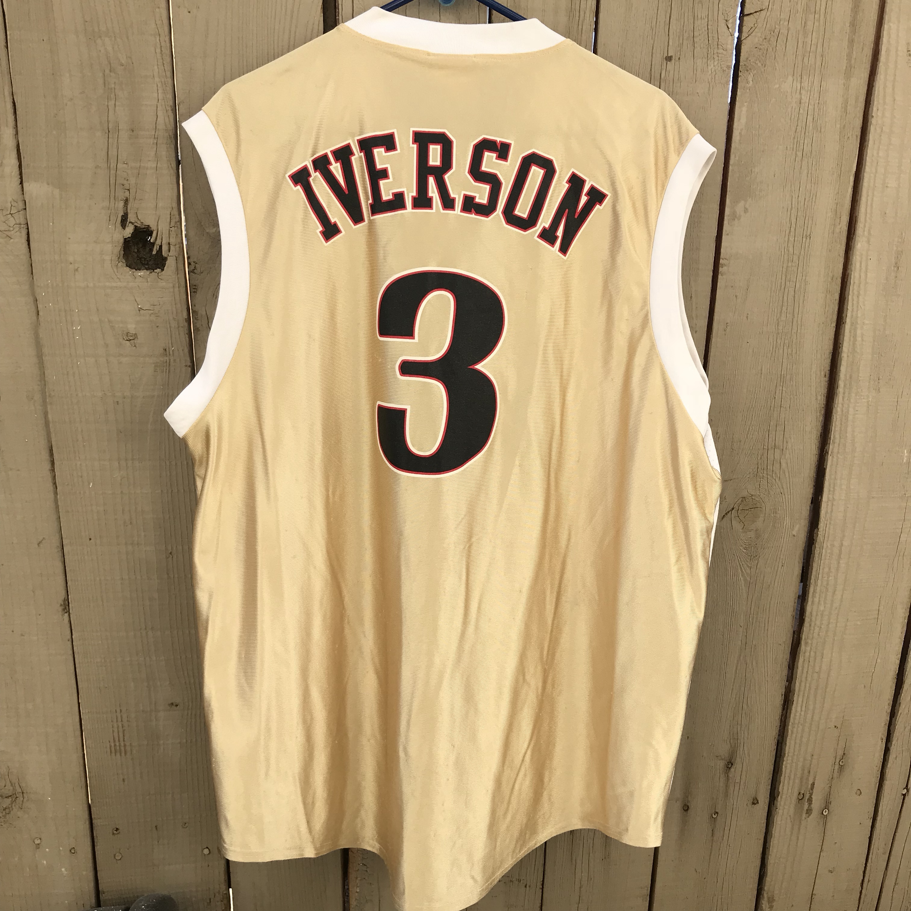 new style e96f4 2abb2 Vintage NBA finals Iverson jersey size XL rare gold... - Depop