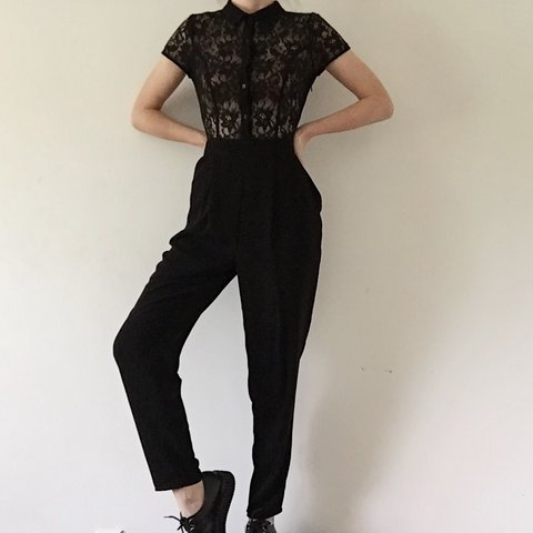fe64f728073 Black sheer lace top jumpsuit! Side zipper closure with from - Depop