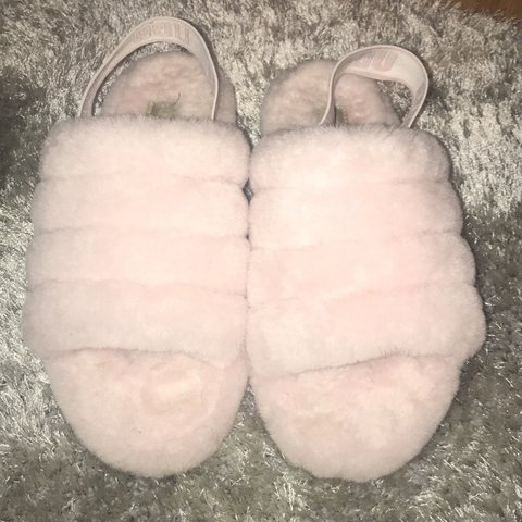 544d304283fa Pink fluffy UGG sliders. Size 5. Worn twice.  ugg  sliders - Depop
