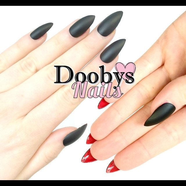 Dooby\'s Nails Matte black red bottom Stiletto nails Nails in - Depop