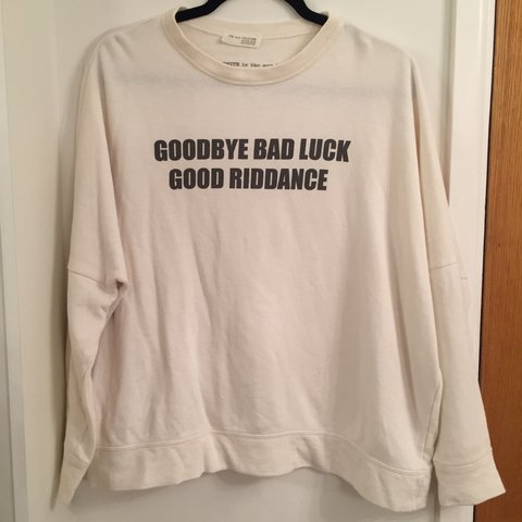 2209c05591 Cream Zara slogan sweatshirt Worn but very good condition - Depop