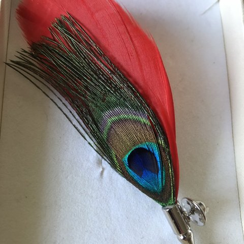 896455601004f0 Red peacock feather Lapel pin brooch wedding ladies race day - Depop