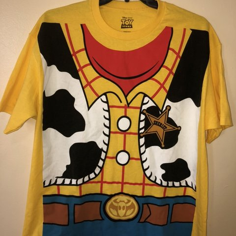 d68049a7 @yvonpierre. 3 months ago. Boston, United States. Toy Story Sheriff Woody  graphic T-shirt, XL, yellow