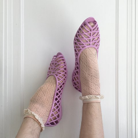 a9c41e0ad262 NWT lilac american apparel jelly flats! these are too big me - Depop