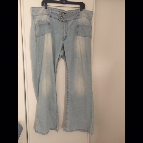 e3a994e8c8a Plus Size Jeans Size 22 Wide leg hem Faded blue color Good - Depop