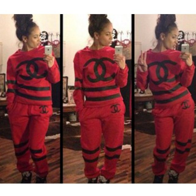 Chanel tracksuit available in red and black. S M L (sizes do - Depop 5c6ccf434