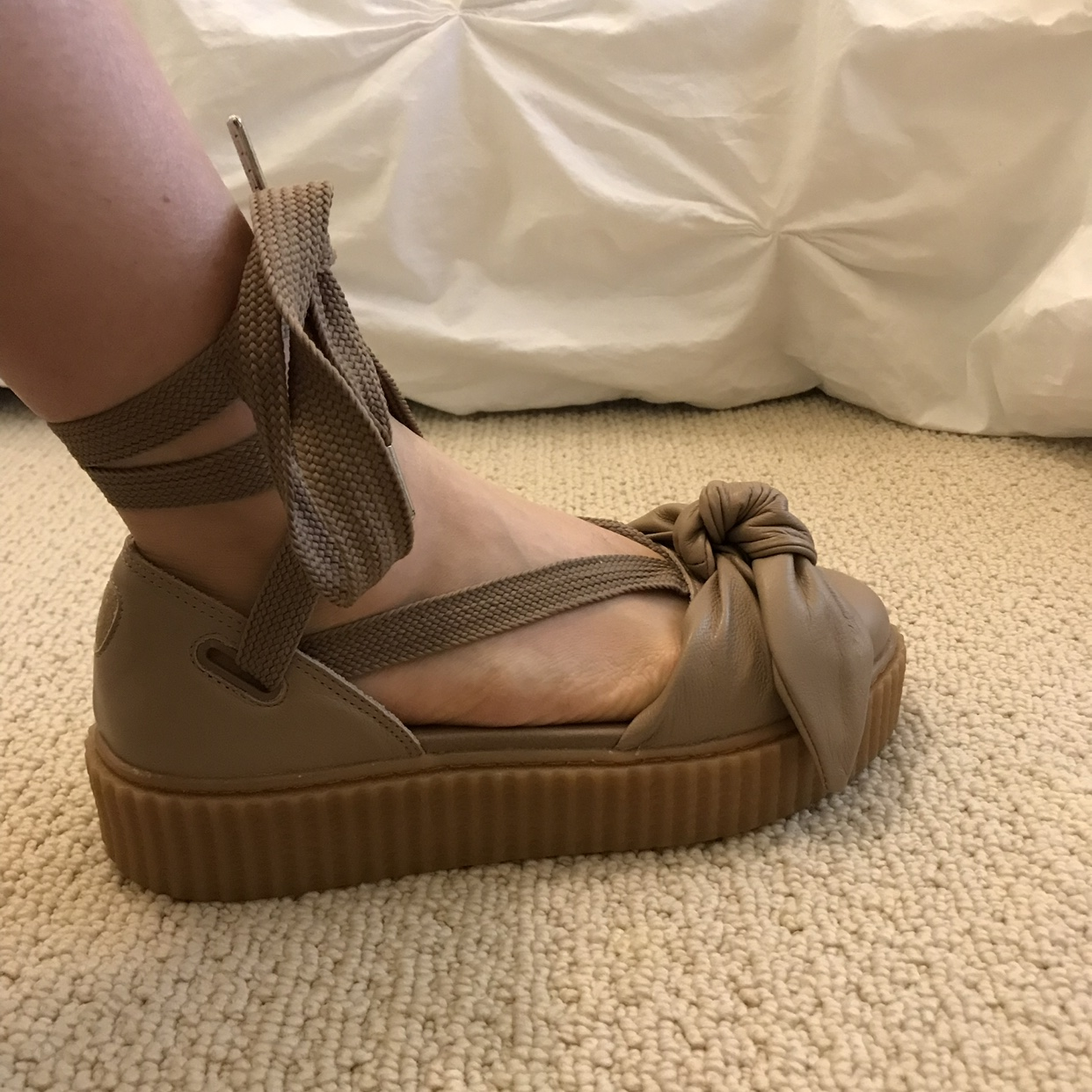 detailed look 7940d 1402e FENTY PUMA By Rihanna Bow Creeper Sandal Color:... - Depop