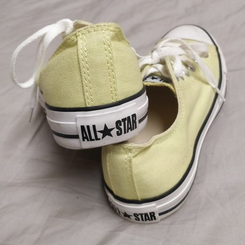 f005805a1ea Beautiful pastel yellow low top converse  thrift  shoe - Depop