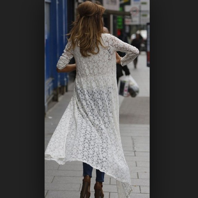 SOLD ON EBAY. Zara. White lace open buttoned maxi dress / cardigan ...
