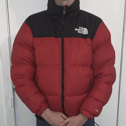 d8fab0d192b Red and black north face puffer jacket Mint condition Only - Depop