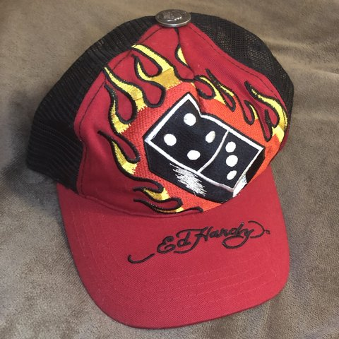 44a0a027 @lockslashkey. 2 months ago. Los Angeles, United States. Ed Hardy by Christian  Audigier Flaming Domino trucker hat.