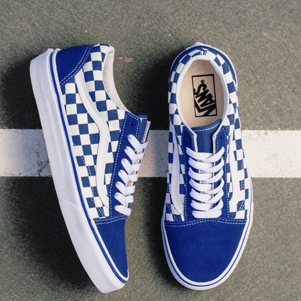 Get - blue checkered lace up vans - OFF