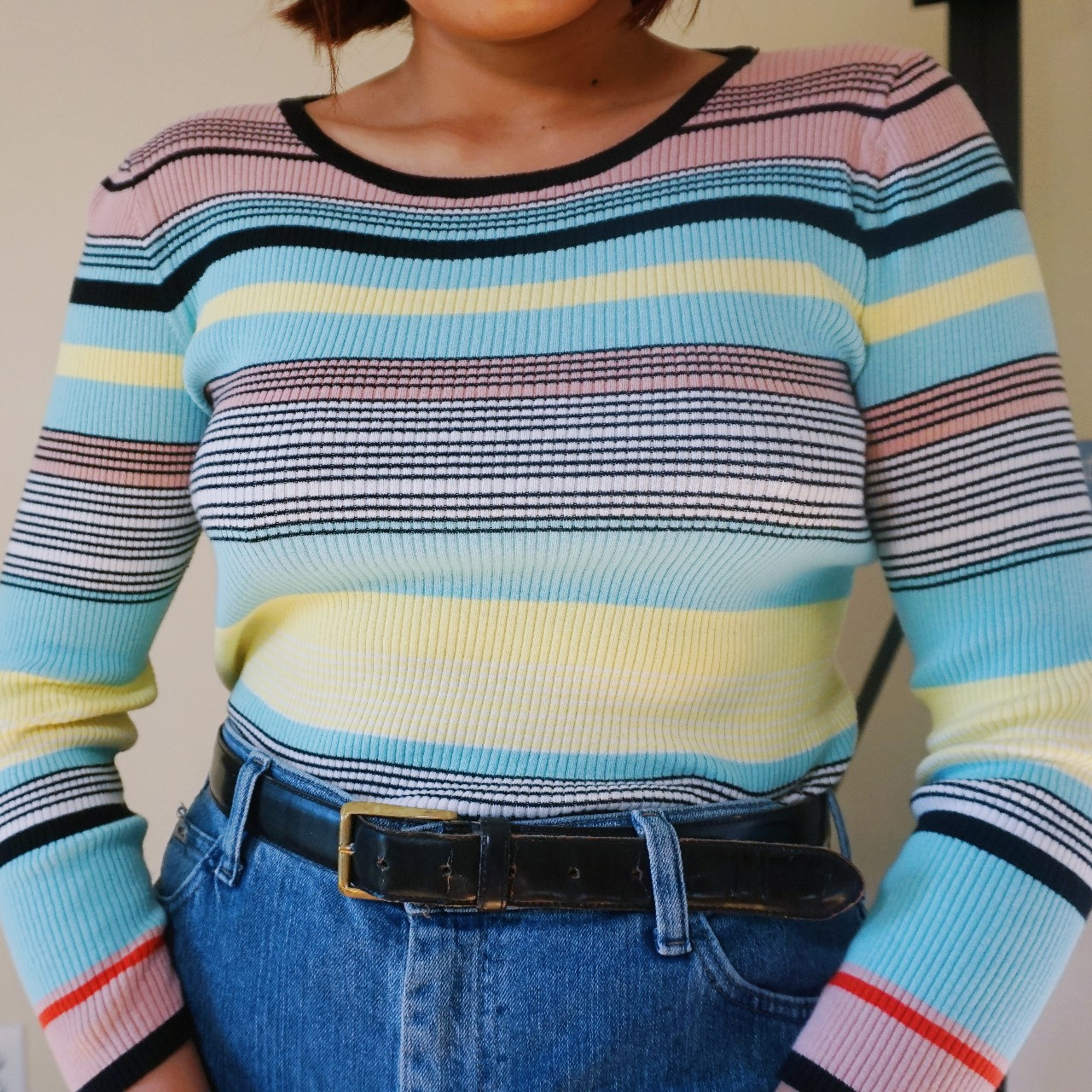 Rainbow Striped Long Sleeve By Vince Camuto by Depop