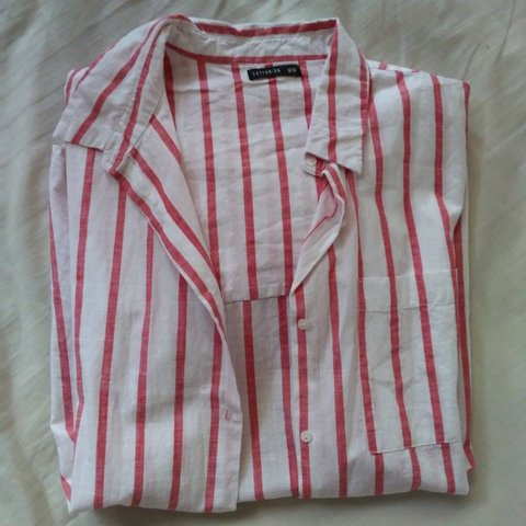 fac6078359dde9 Linen Oversized Red/White Stripe Shirt -Collared, has a and - Depop