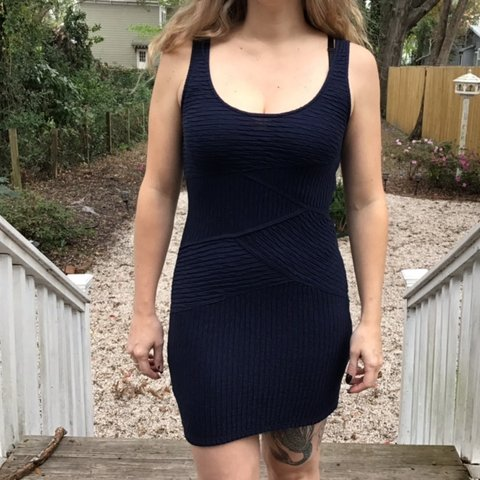 54c31ffb694 FREE PEOPLE navy blue bodycon dress with ribbed detail. - Depop