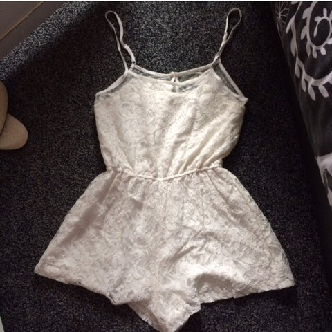 50a56ac379 Missguided white   cream lace playsuit Size 8 FREE P P Only - Depop