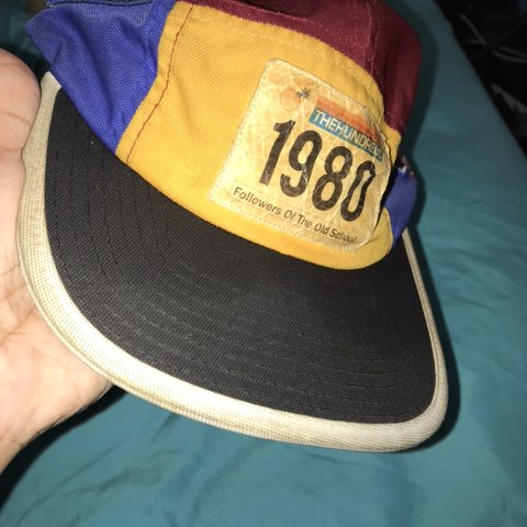 c94309b5 The hundreds 5 panel hat. Yellow, red, blue with some black. - Depop