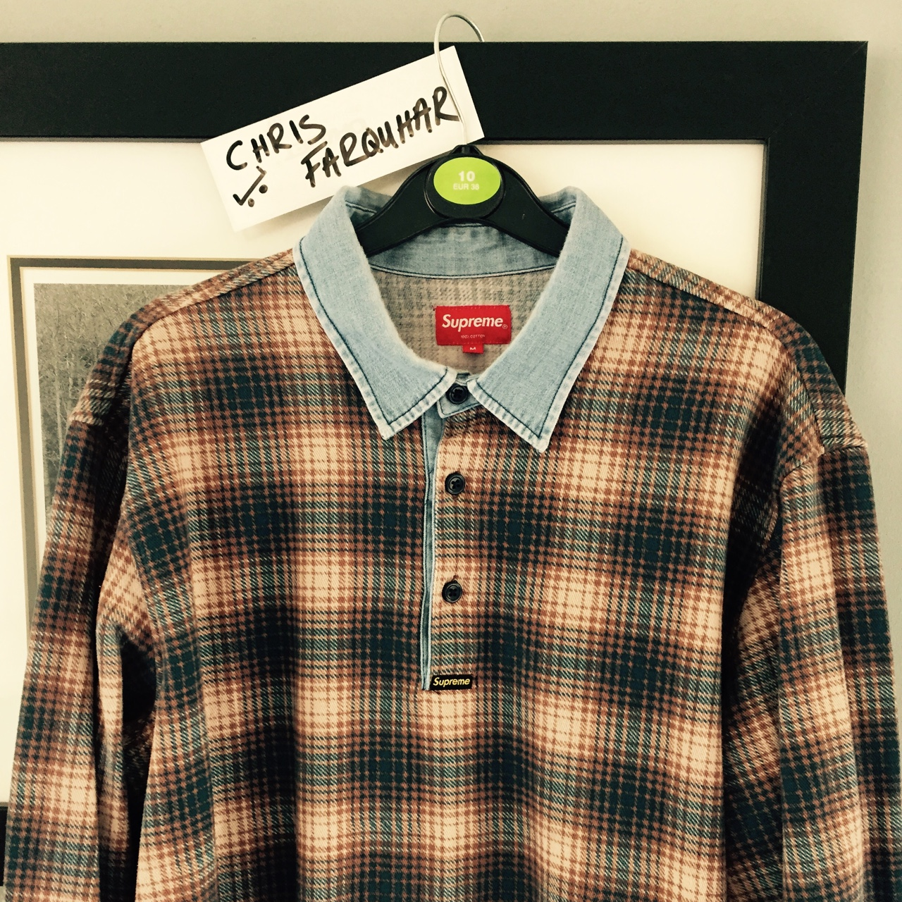 Supreme plaid rugby top size medium but fits like a    - Depop