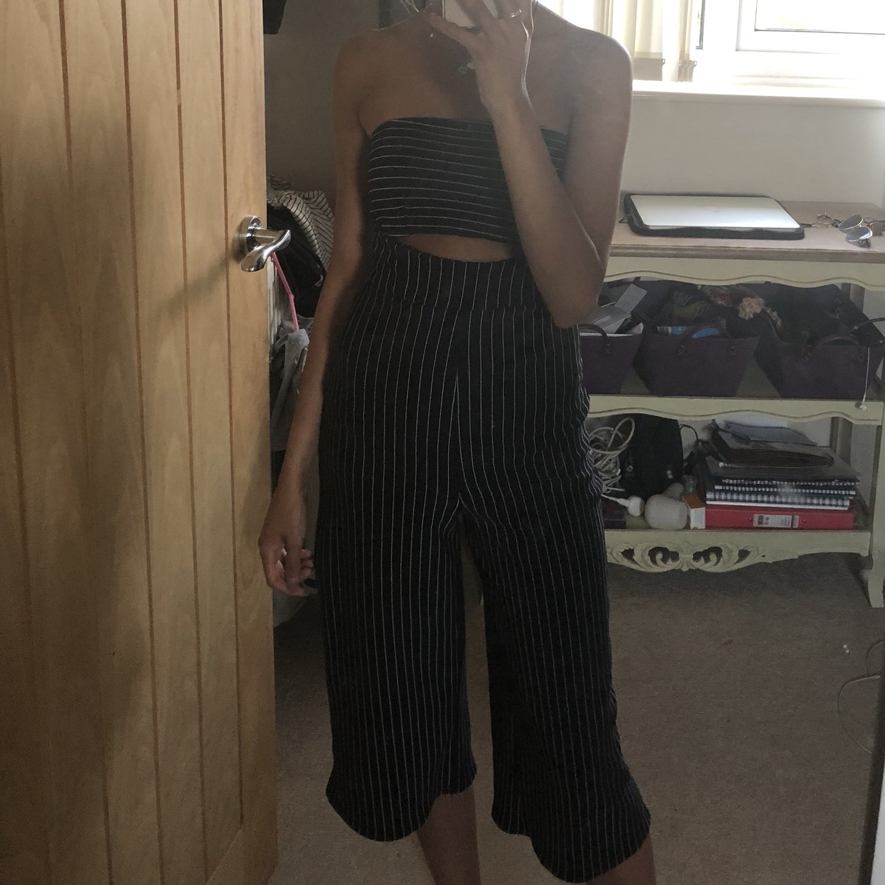 b1388f1584f MISSGUIDED Striped Culotte Jumpsuit ✨ Size 4 but would fit a - Depop