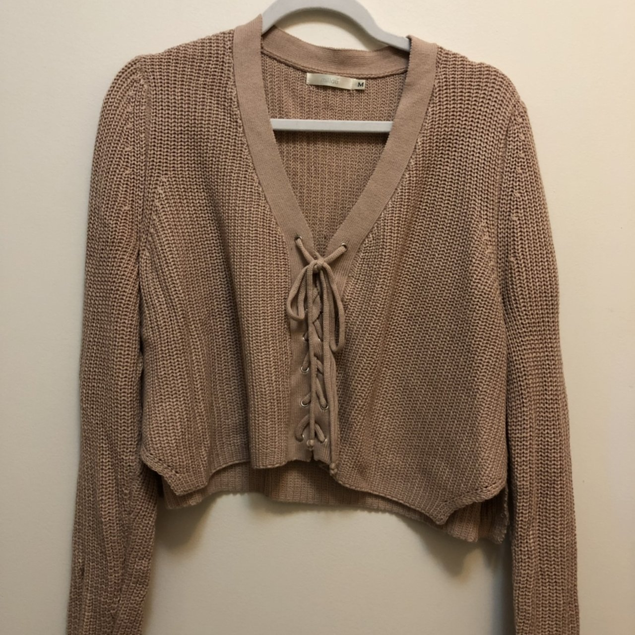 a8c4a74ae6 LF Stores Lace Up Sweater in Blush Pink - good condition - - Depop