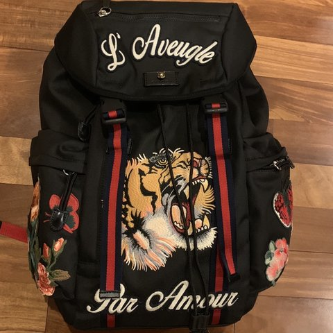 199b574bf785 Gucci Backpack Tiger print with floral embroidery. Comes - Depop