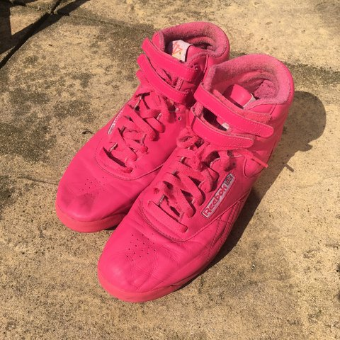 84e4cbc5bc2e6 Hot Pink high top reebok trainers! Soft leather. Bought from - Depop