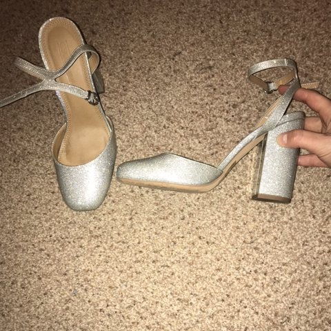 b8832472580 Silver glitter small heeled shoes with ankle strap. Worn in - Depop