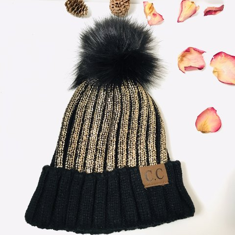 b995b1d77f2 Gold CC Beanie with Pom Beat the 🥶 weather with this super - Depop