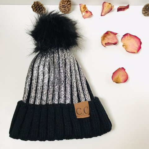 70bfb52f442 Silver CC Beanie with Pom Beat the 🥶 weather with this for - Depop
