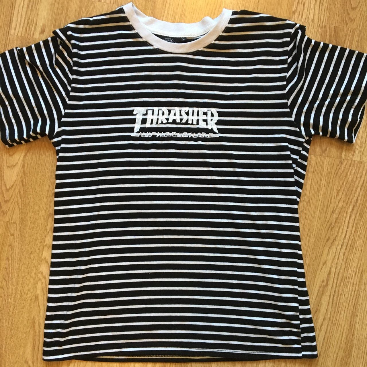 HUF x THRASHER T SHIRT • BLACK AND WHITE STRIPED • SIZE MENS - Depop df5626d7a